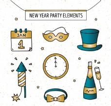 各种手绘金色新年元素