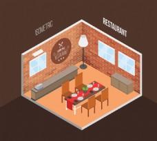 等轴室内餐厅