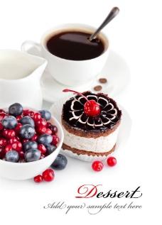 咖啡与蓝莓图片