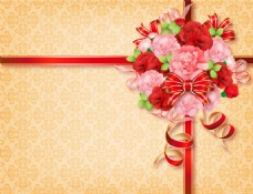 红色粉色花朵背景图片