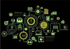 业务信息图表设计与图在黑暗背景自由向量