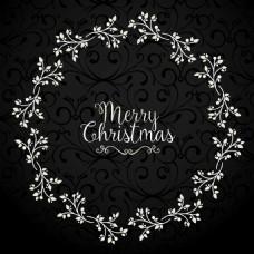 圣诞花环的黑色背景