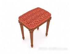 红色花纹凳子3d模型下载