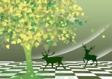 3D抽象树背景墙