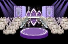 欧式紫色婚礼主舞台