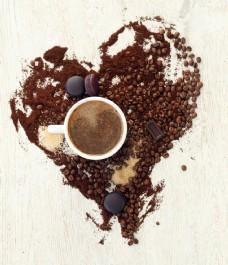 心形咖啡都与咖啡图片
