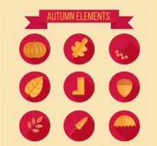 在平面设计的金色秋天的元素
