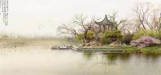 中国风凉亭背景
