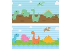 恐龙矢量背景
