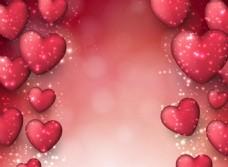 立体红心情人节矢量素材设计模板
