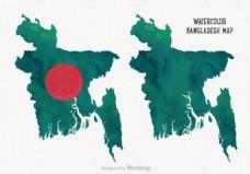 免费矢量水彩孟加拉地图