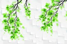 3D方块绿叶背景墙