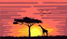 日落大草原的长颈鹿