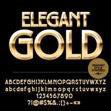77款金色字母与数字设计矢量图