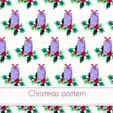水彩圣诞图案与礼物