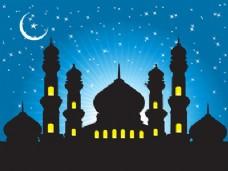 清真寺背景与星空蓝天