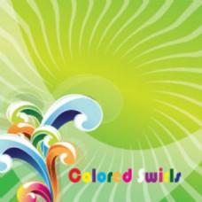 艺术彩色的漩涡在绿色载体图案背景