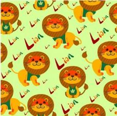 狮子重复图案设计与明亮的颜色背景自由向量