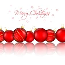 白色背景与红色圣诞球