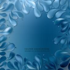 蓝色花落背景
