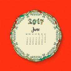 红色背景六月日历设计图片[