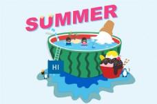 手机夏天冰淇淋西瓜海岛凉爽
