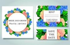美丽花朵婚礼卡片图片