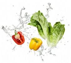 动感水花与蔬菜图片