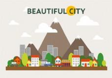 山地城市景观插画矢量图