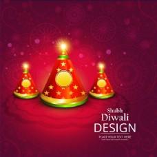 红色的背景上有三根蜡烛庆祝排灯节