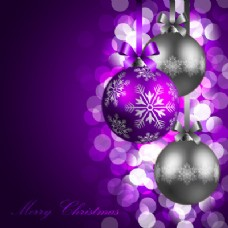 发光圣诞球紫色背景灯