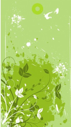 Green Floristic Banner与肮脏的污渍