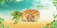 菠萝banner绿色素材背景