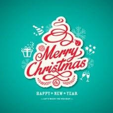 蓝色的背景与字体圣诞贴纸
