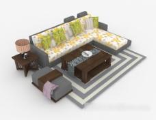 个性花纹多人沙发3d模型下载