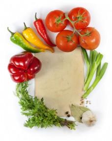 新鲜蔬菜砧板图片