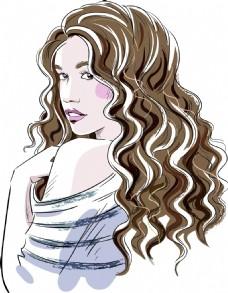 时尚卷发女孩插画