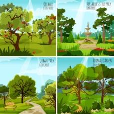 卡通公园景观树木