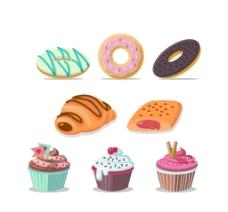 8款卡通甜点矢量素材