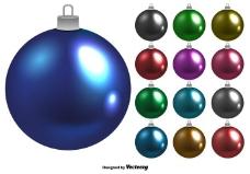 闪亮矢量圣诞球集