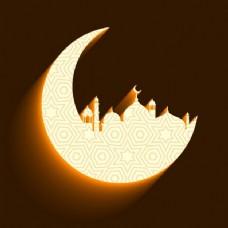 清真寺和月亮背景