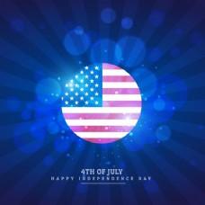 蓝色背景中的美国国旗图标