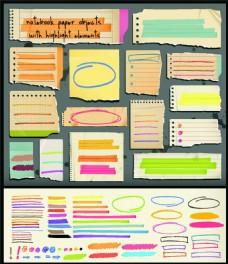 彩色笔触与纸张标签图片