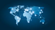 蓝色科技背景世界地图矢量素材