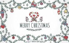 手绘圣诞饰品背景