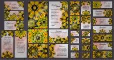 黄色曼陀罗花纹卡片图片