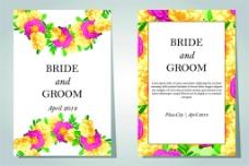 彩色花朵婚礼卡片图片