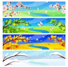 美丽四季风景banner矢量图