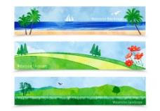 3款水彩自然风景banner矢量图