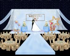 淡蓝色婚礼舞台效果